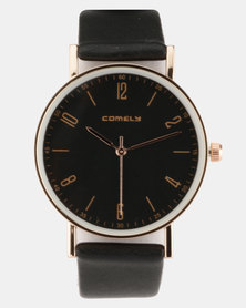 Joy Collectables Round Tonal Face Watch Black