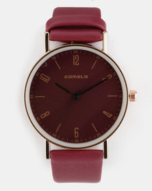 Joy Collectables Round Tonal Face Watch Burgundy