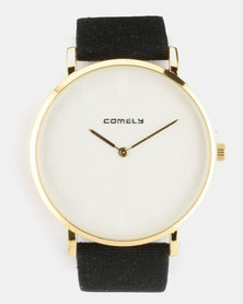 Joy Collectables Faux Suede Strap Watch Black