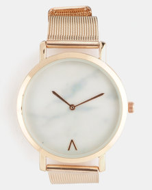 Joy Collectables Mesh Strap Watch Rose Gold-Tone