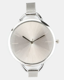 Joy Collectables Thin Mesh Strap Watch Silver-Tone