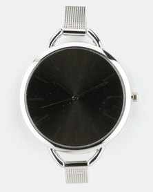 Joy Collectables Thin Mesh Strap Watch Silver-Tone/Black
