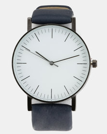 Joy Collectables Round Minimal Watch with PU Strap Navy
