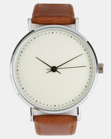 Joy Collectables Minimalistic PU Strap Watch Brown