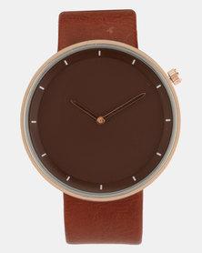Joy Collectables Round PU Strap Watch Brown