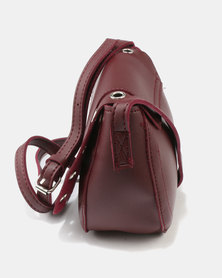 Joy Collectables Cross Body Bag with Eyelet Burgundy