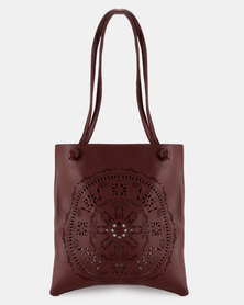 Joy Collectables Lazer Cut Shopper Handbag Burgundy