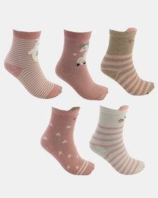 Joy Collectables 5 Pack Animal Socks Pink