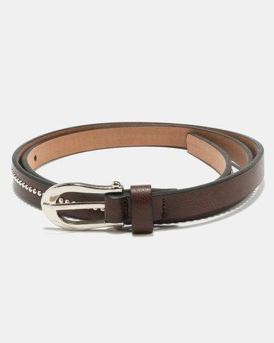 Joy Collectables Skinny Stud Belt Brown