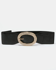 Joy Collectables Elasticated Waist Belt With Diamante Buckle Black