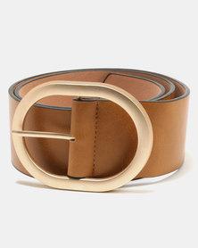 Joy Collectables Oval Buckle Belt Tan