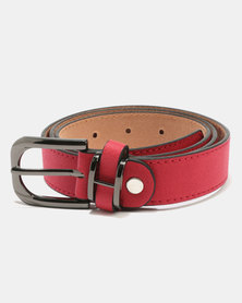 Joy Collectables Gunmetal Buckle Belt Red