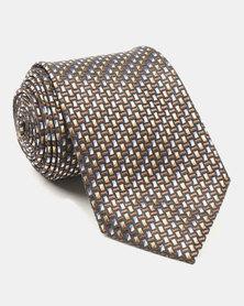 Joy Collectables Micro Print Tie Brown