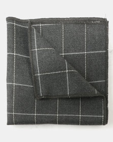 Joy Collectables Square Print Pocket Square Grey