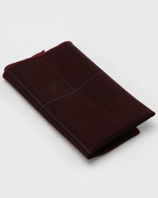 Joy Collectables Square Print Pocket Square Burgundy