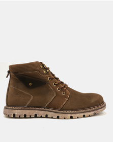 Bronx Men Lester Leather Boots Coffee