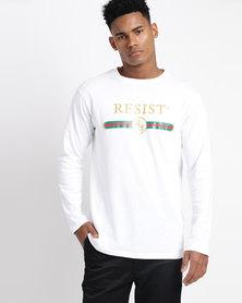 Resist Printed Long Sleeve T-shirt White