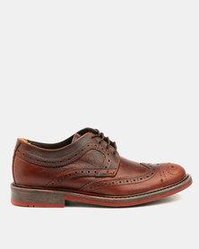 Bronx Men Jump Brogue Shoes Red Brown