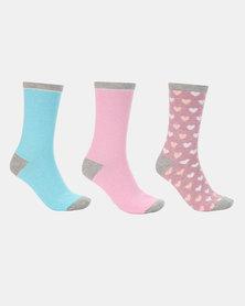 3 Pack Heart Print Socks Multi