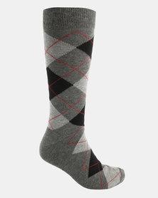 Cameo Argyle Print Socks Charcoal Multi