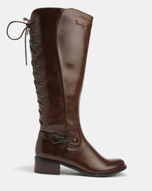 Pierre Cardin Lace Up Detail Long Boots Brown
