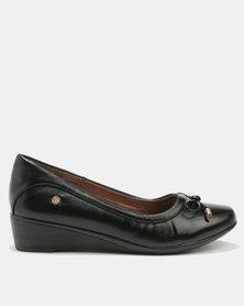Pierre Cardin Super Comfort Bow Trim Wedges Black