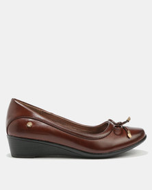 Pierre Cardin Super Comfort Bow Trim Wedges Brown