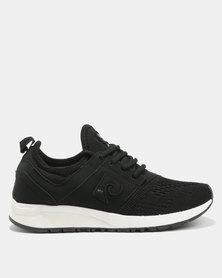 Pierre Cardin Knit Vamp Sporty Sneakers Black