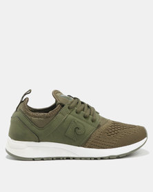 Pierre Cardin Knit Vamp Sporty Sneakers Khaki