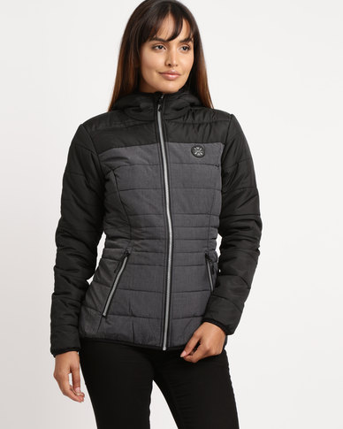 Lizzy Lia Zip Through Puffer Jacket Grey