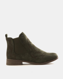 Miss Black Falon Gusset Boots Olive Green
