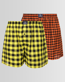 2 Pack Woven Boxers Yellow & Orange