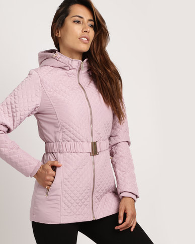 cath.nic By Queenspark Quilted Belted Woven Puffer Jacket Pink