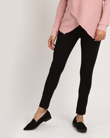 cath.nic By Queenspark Button Detail Stretch Knit Ponti Black