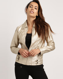 cath.nic By Queenspark Shiny Pleather Woven Jacket Gold