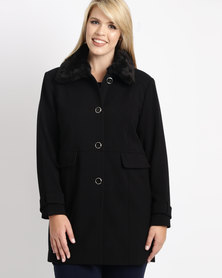 Queenspark Plus Faux Fur Collar Woven Coat Black