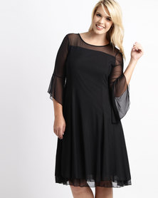 Queenspark Plus Frill Hem Mesh Knit Dress Black