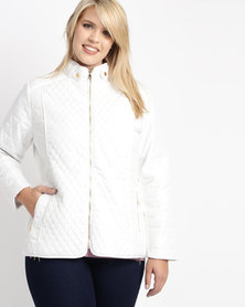 Queenspark Plus Quilted Puffer Long Sleeve Jacket Cream