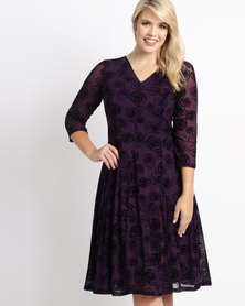 Queenspark Plus Rose Flocked Mesh Knit Glamour Dress Purple