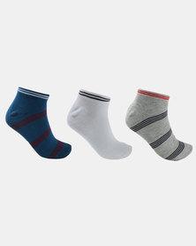 JCrew Stripe Ankle 3 Pack Socks Multi