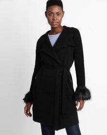 Sissy Boy Coat With Faux Fur Black