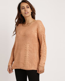 Crave Light Knit Cable Top Rust