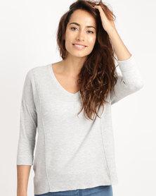 Crave V-Neck Long Sleeve Light Knit Top Grey