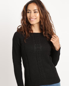 Crave Textured Ling Sleeve Knit Jersey Black