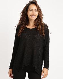 Crave Soft V-Neck Knit Top Black