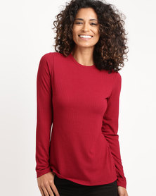 Paige Smith Roundneck Basic Longsleeve Rib Top Red