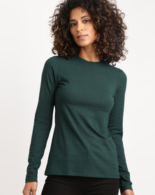 Paige Smith Roundneck Basic Longsleeve Rib Top Green