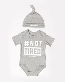 #Nottired Creeper & Hat Set Grey