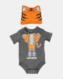 Creature Creeper & Hat Set Tiger Grey