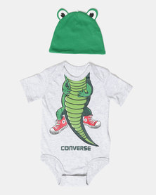 Creature Creeper & Hat Set Alligator Grey